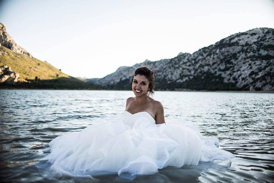postwedding session bride water