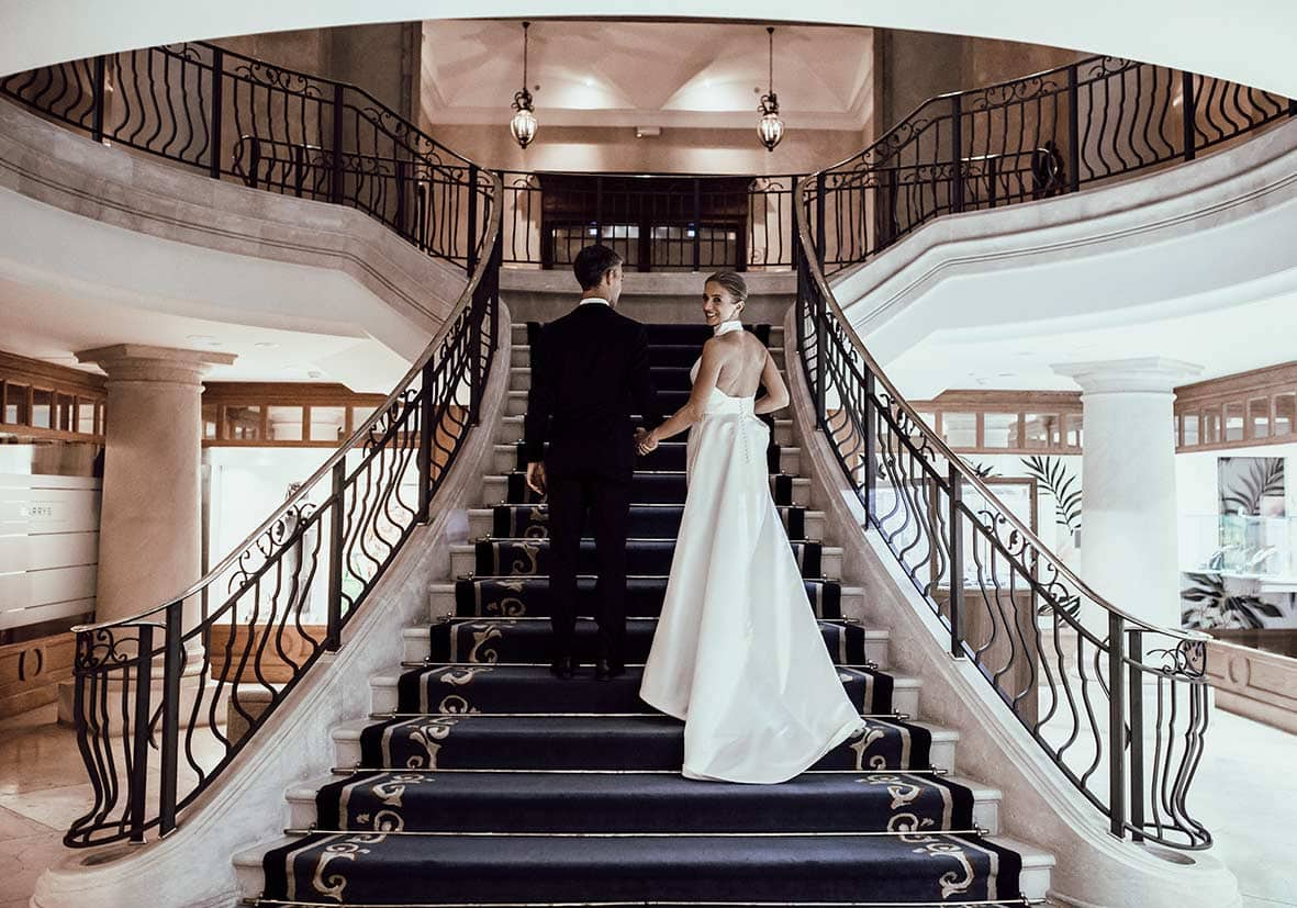 wedding in castillo hotel son vida stairs