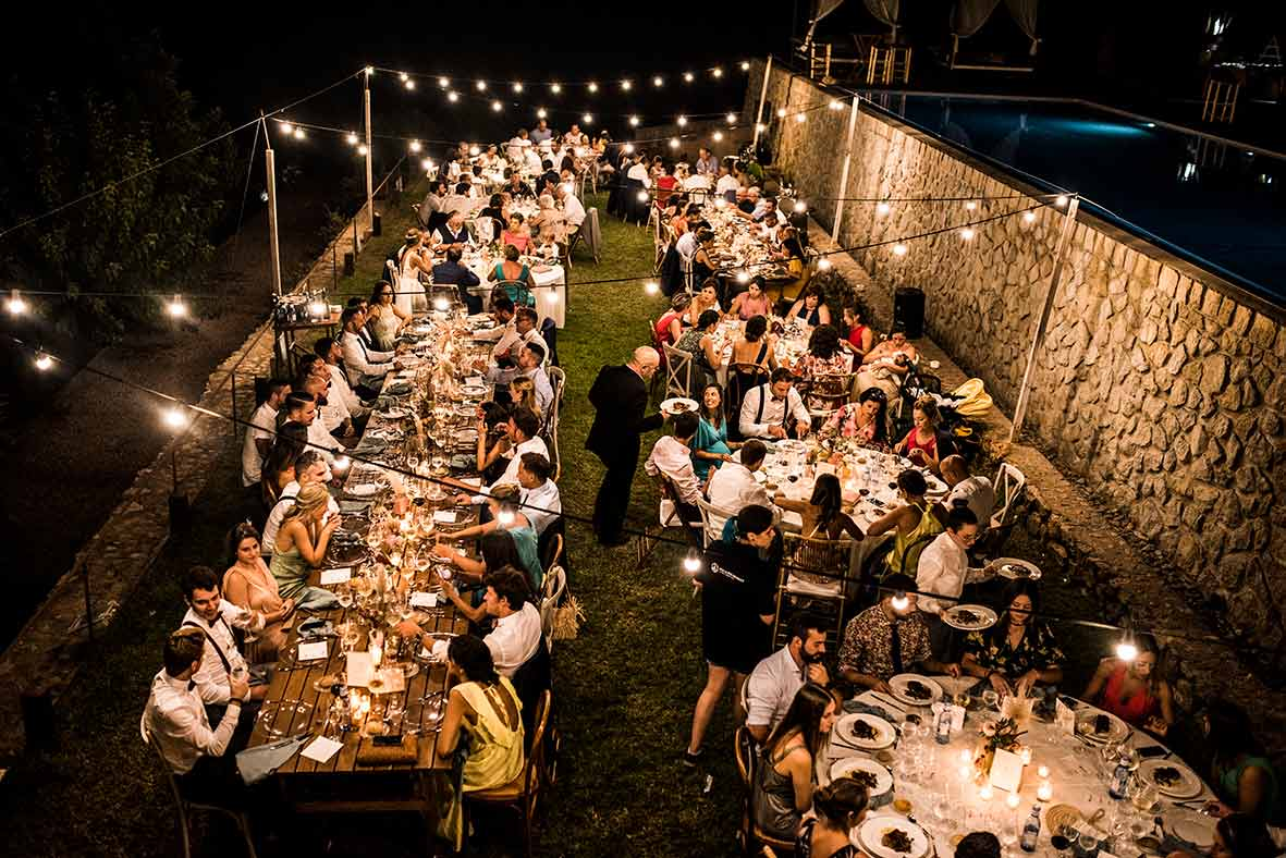 """ALT""wedding photographers in Mallorca dinner from up"